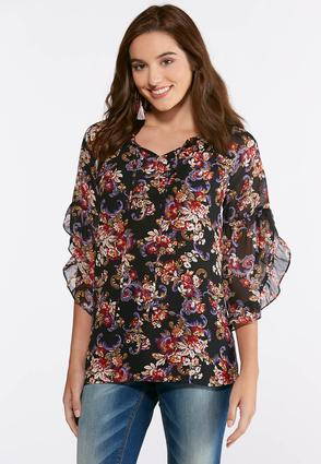 Plus Size Sheer Floral Ruffle Sleeve Top