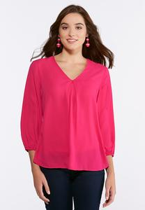 Plus Size V-Neck Pleated Blouse