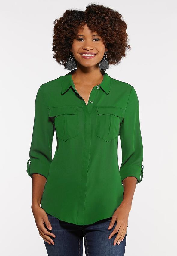 e637063bf3772 Plus Size Solid Button Down Boyfriend Shirt Shirts   Blouses Cato ...