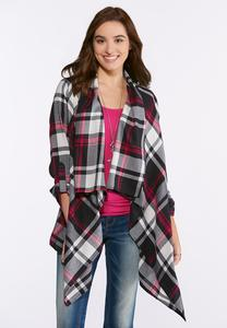 Raspberry Plaid Waterfall Jacket