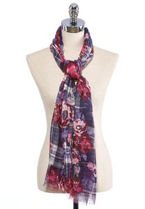 Floral Plaid Oblong Scarf