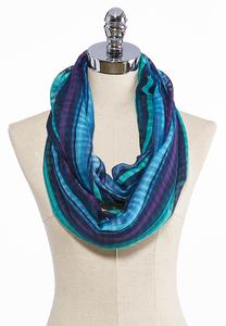 Striped Gauze Infinity Scarf