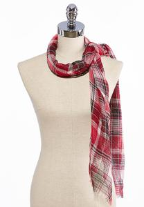 Plaid Gauze Oblong Scarf
