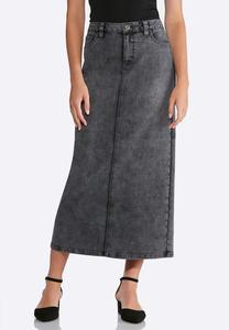 Plus Size Black Wash Denim Maxi Skirt