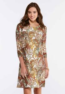 Plus Size Golden Yellow Paisley Dress