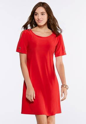 Solid Grommet Sleeve Dress | Tuggl