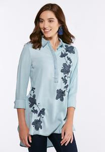 Plus Size Floral Embroidered Chambray Shirt