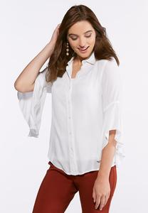 Plus Size Ruffled Sleeve Button Down Shirt
