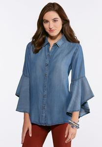 Plus Size Chambray Ruffled Sleeve Shirt