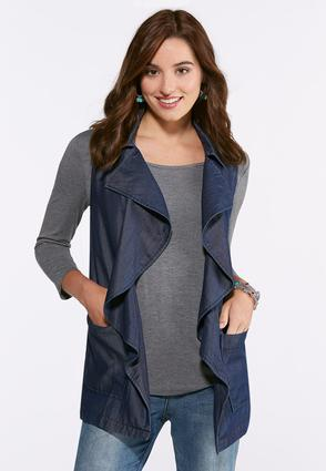 Chambray Waterfall Vest