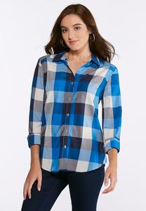 Plus Size Embellished Blue Plaid Shirt