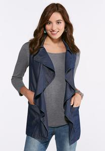 Plus Size Chambray Waterfall Vest