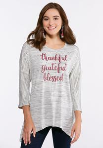 Plus Size Thankful Grateful Blessed Top