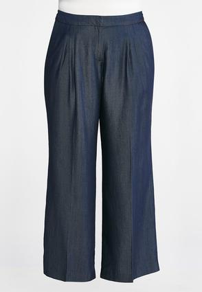 Plus Size Wide Leg Dark Wash Pants | Tuggl