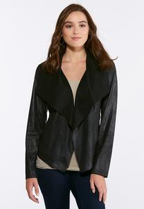 Plus Size Crackle Faux Leather Jacket