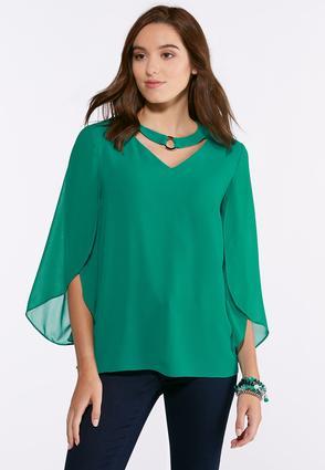 Embellished Tulip Sleeve Top | Tuggl