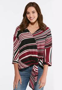 Plus Size Crepe Stripe Tie Waist Top