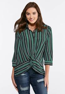 Plus Size Striped Knot Front Top