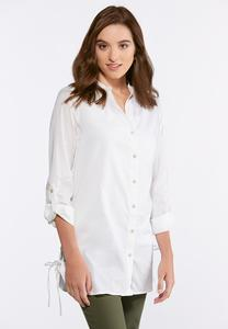 Lace Up Button Down Tunic