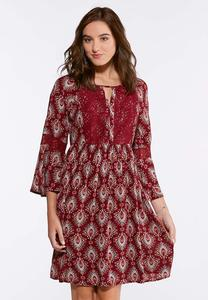 Plus Size Lace Trim Feather Print Dress
