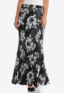 Plus Size Floral Hacci Mermaid Skirt
