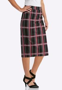 Plus Size Pink Plaid Pencil Skirt