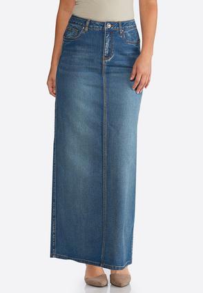 e2c1f8cfce5 Plus Size Tribal Stitch Denim Maxi Skirt