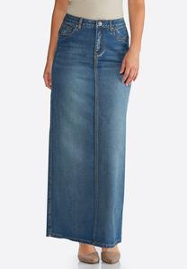 Plus Size Tribal Stitch Denim Maxi Skirt
