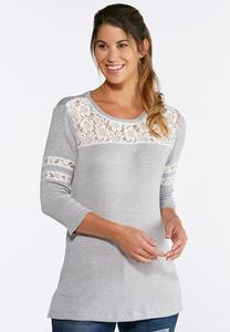 Gray Lace Inset Top