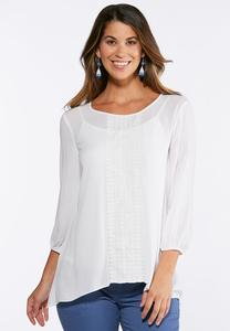 Plus Size Gauze Lace Panel Top