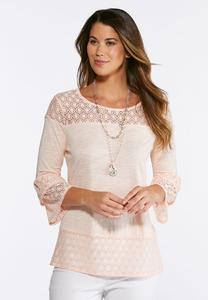 Pink Lace Yoke Top
