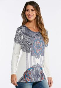 Rhinestone Medallion Top