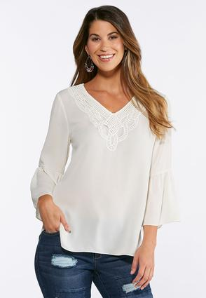 Solid Lace Bib Poet Top