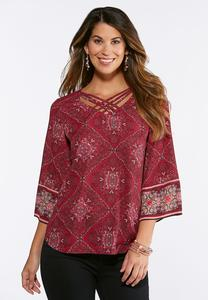 Raspberry Diamond Print Top