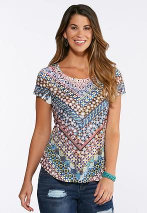 Embellished Mosaic Print Top