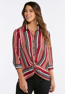 Knotted Wine Stripe Shirt