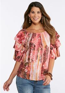Plus Size Tiered Ruffle Sleeve Top