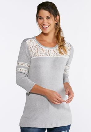 Plus Size Gray Lace Inset Top