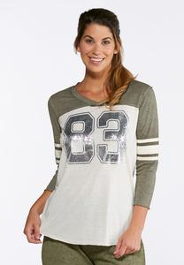 Plus Size Metallic Graphic Athleisure Tee