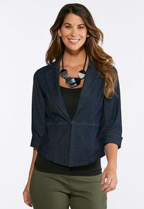 Plus Size Cropped Denim Blazer