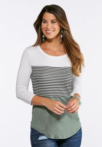 Plus Size Striped Colorblock Top
