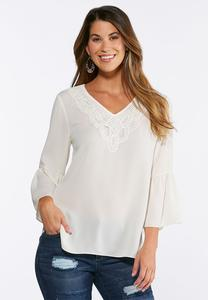 Plus Size Solid Lace Bib Poet Top