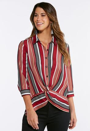 Plus Size Knotted Wine Stripe Shirt