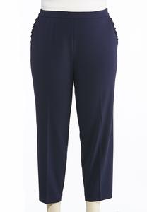Plus Size Navy Ruffle Pocket Pants