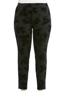 Plus Size Flocked Ponte Leggings