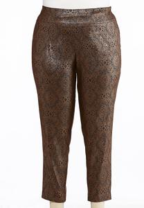 Plus Size Medallion Foiled Bengaline Pants