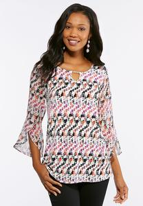 Plus Size Embellished Tulip Sleeve Top