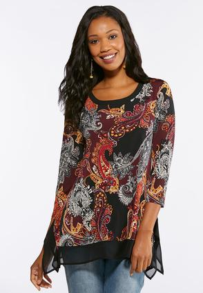 Plus Size Tapestry Printed Sharkbite Top