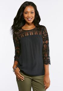 Plus Size Crepe Lace Sleeve Top