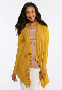 Ruffle Draped Cardigan Sweater